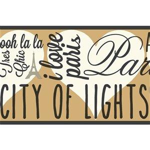 Bordure de papier peint encollé ville de lumières de York Wallcoverings, 6,75 po x 15 pi, brun/beige/noir