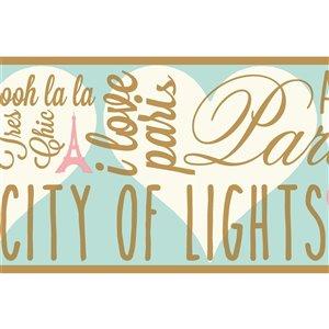 Bordure de papier peint encollé ville de lumières de York Wallcoverings, 6,75 po x 15 pi, or/bleu/blanc