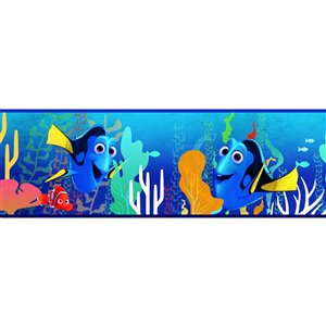 Bordure de papier peint encollé monde sous-marin de York Wallcoverings, 6 po x 15 pi, bleu foncé/orange