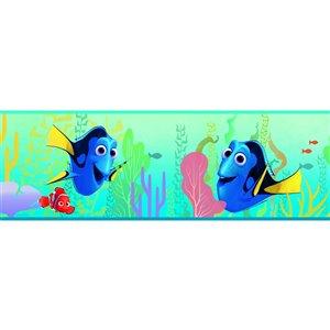 Bordure de papier peint encollé monde sous-marin de York Wallcoverings, 6 po x 15 pi, aqua/bleu/vert