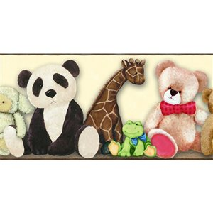 York Wallcoverings Prepasted Teddy Bear and Animals Wallpaper Border - 9-in x 15-ft - Beige/Black