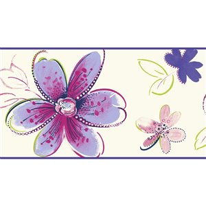 York Wallcoverings Prepasted Floral Wallpaper Border - 6.75-in x 15-ft - Lilac/White