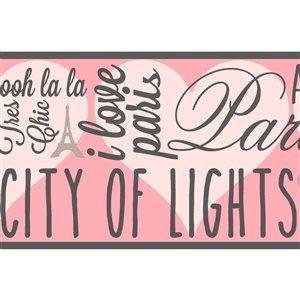 Bordure de papier peint encollé ville de lumières de York Wallcoverings, 6,75 po x 15 pi, argent/rose