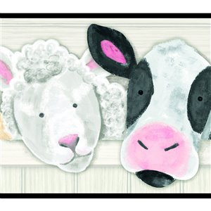 York Wallcoverings Prepasted Farm Animals Wallpaper Border - 9-in x 15-ft - Pink/White/Black