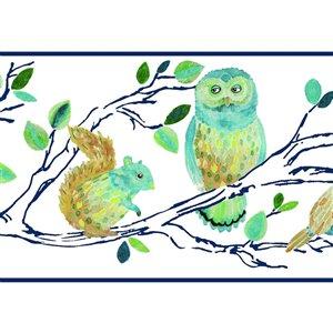 Bordure de papier peint encollé animaux de la forêt de York Wallcoverings, 9 po x 15 pi, bleu/blanc