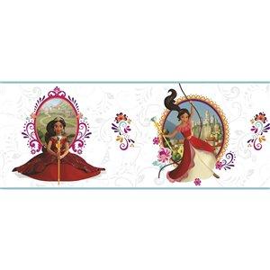 Bordure de papier peint encollé princesse Elena de York Wallcoverings, 9 po x 15 pi, blanc/mauve/rouge