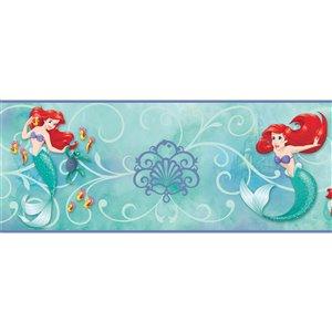 Bordure de papier peint encollé la petite sirène de York Wallcoverings, 9 po x 15 pi, bleu/rouge