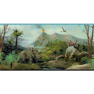 Bordure de papier peint encollé dinosaures de York Wallcoverings, 9 po x 15 pi, bleu/brun/vert
