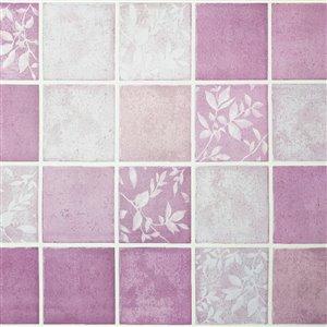 Papier peint en vinyle Falkirk Bhòid par Dundee Deco, motif géométrique, autoadhésif,36 pi², mauve/blanc