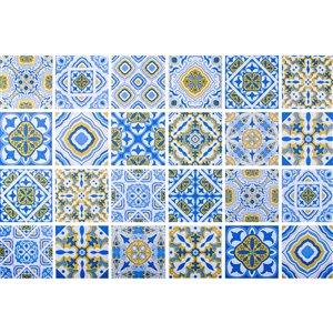 Papier peint en vinyle Falkirk Bhòid par Dundee Deco, motif géométrique, autoadhésif,36 pi², bleu/or/blanc