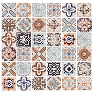 Papier peint en vinyle Falkirk Bhòid par Dundee Deco, motif géométrique, autoadhésif,36 pi², orange/brun/sarcelle