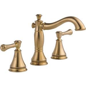 Robinet de salle de bain à large entraxe Cassidy de DELTA, 2 poignées, champagne bronze