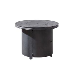 Table-foyer Davenport grise à gaz naturel en aluminium avec dessus en céramique, 32,8 po, 30 000 BTU, par OVE Decors