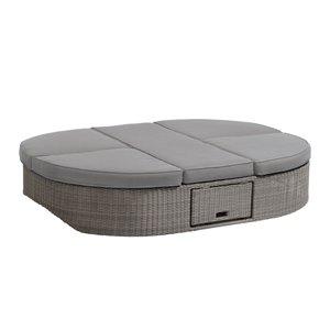 Méridienne d'extérieur Sandra inclinable en osier avec coussins et cadre en aluminium gris par OVE Decors