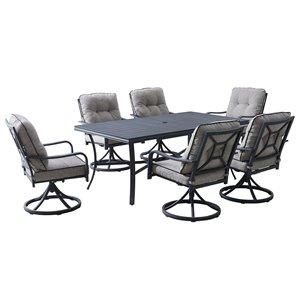 Ensemble à dîner pour la terasse Davenport en aluminium gris avec coussins en oléfine gris inclus par OVE Decors, 7 mcx