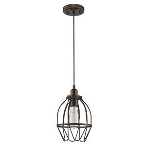 Luminaire suspendu à 1 lumière cage en métal Loft de Acclaim Lighting, bronze huilé