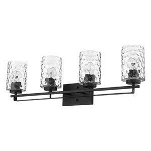Applique de meuble-lavabo Livvy de Acclaim Lighting, 4 lumières, avec abat-jour verre optique, noir