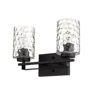 Applique de meuble-lavabo Livvy de Acclaim Lighting, 2 lumières avec abat-jour verre optique, noir