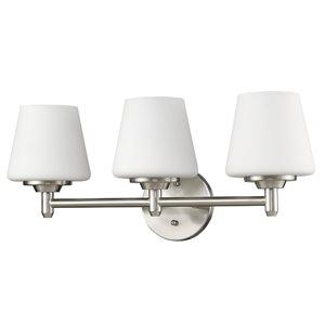 Applique de meuble-lavabo Paige de Acclaim Lighting, 3 lumières, nickel satiné