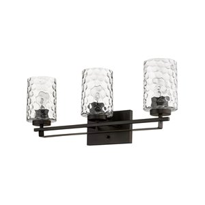 Applique de meuble-lavabo Livvy de Acclaim Lighting, 3 lumières, abat-jour verre optique, bronze huilé