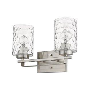 Applique de meuble-lavabo Livvy de Acclaim Lighting, 2 lumières, abat-jour verre optique, nickel satiné