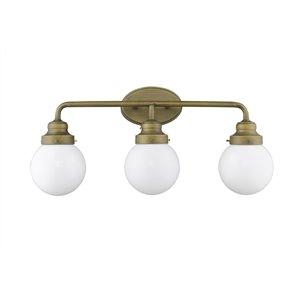 Luminaire pour salle de bain Portsmith de Acclaim Lighting, 3 lumières, laiton brut