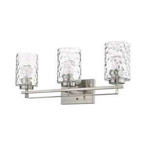Applique de meuble-lavabo Livvy de Acclaim Lighting, 3 lumières, abat-jour verre optique, nickel satiné