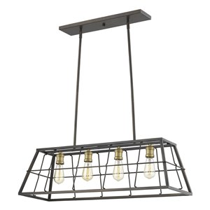 Luminaire suspendu Charley de Acclaim Lighting, 4 ampoules, bronze huilé