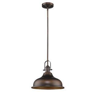 Luminaire suspendu Virginia 1 lumière abat-jour métal, bronze huilé