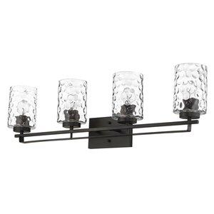 Applique de meuble-lavabo Livvy de Acclaim Lighting, 4 lumières, abat-jour verre optique, bronze huilé