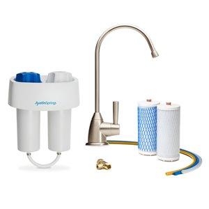 Filtre à eau sous l'évier avec robinet Austin Springs, nickel brossé