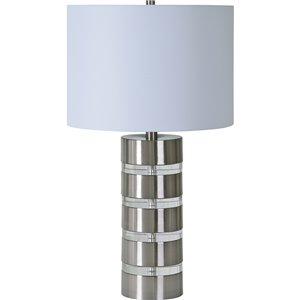 Lampe de Table Sonny de Notre Dame Design, 25 po, abat-jour en tissu, nickel