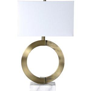 Lampe de Table Skipton de Notre Dame Design, 27 po, abat-jour en tissu, bronze