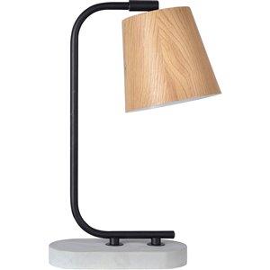 Lampe de Table Champion de Notre Dame Design, 15 po, abat-jour en bois, noir