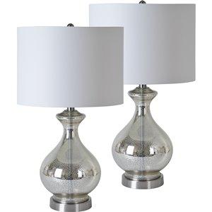 Lampe de Table Luce de Notre Dame Design, 25,25 po, abat-jour en tissu, noir, 2 mcx