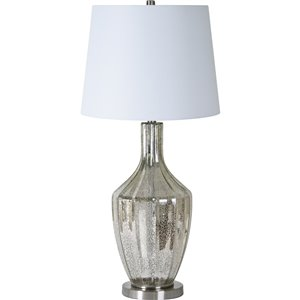 Lampe de Table Stanfield de Notre Dame Design, 34,5 po, abat-jour en tissu, gris