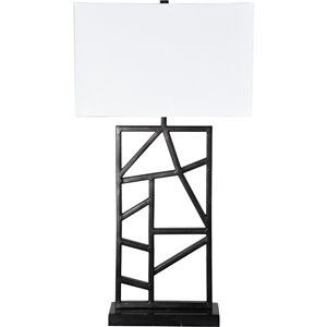 Notre Dame Design August 29.5-in Gray Standard 3-Way Table Lamp with Fabric Shade