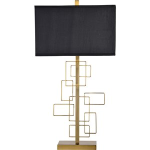Notre Dame Design Sabrillo 29.5-in Brass Standard 3-Way Table Lamp with Silk Shade