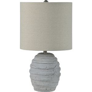 Notre Dame Design Lanza 20-in Gray Standard 3-Way Table Lamp with Fabric Shade