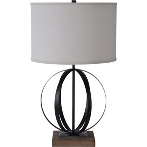 Notre Dame Design Boyer 31.5-in Black Standard 3-Way Table Lamp with Fabric Shade