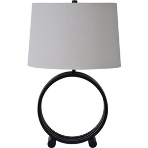 Notre Dame Design Wylie 26.5-in Bronze Standard 3-Way Table Lamp with Fabric Shade