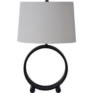 Lampe de Table Wylie de Notre Dame Design, 26,5 po, abat-jour en tissu, bronze