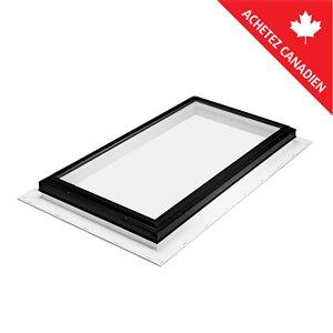 Puits de lumière fixe en verre trempé et solin intégré de Columbia, 22,5po x 34,5po, noir