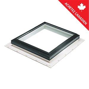 Puits de lumière fixe en verre trempé et solin intégré de Columbia, 22,5po x 22,5po, noir