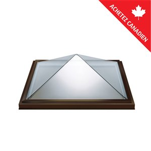 Columbia Acrylic Pyramid Curb Mount Fixed Skylight- 46.5-in x46.5-in - Brown