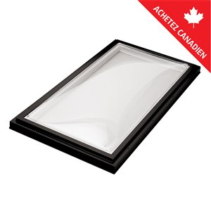 Columbia Acrylic Double Dome Curb Mount Fixed Skylight- 22.5-in x46.5-in - Black