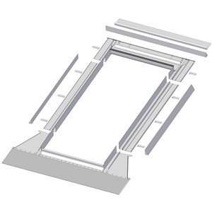 Solin à relief élevé EH pour puits de lumière de Fakro, compatible avec les modèles FX/FV/FVE/FVS - 301/304/306