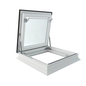 Sortie pour toit plat en verre laminé sur cadre de Fakro, 34,88po x 34,88po, gris