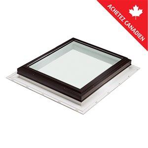 Puits de lumière fixe en verre triple vitrage avec solin intégré de Columbia, 46,5po x 46,5po, brun