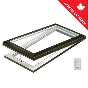 Columbia Tempered Glass Curb Mount Electric Venting Skylight- 22.5-in x46.5-in - Brown